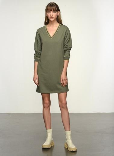 NGSTYLE Ngkss21El0011 Ribana Detaylı Elbise Haki